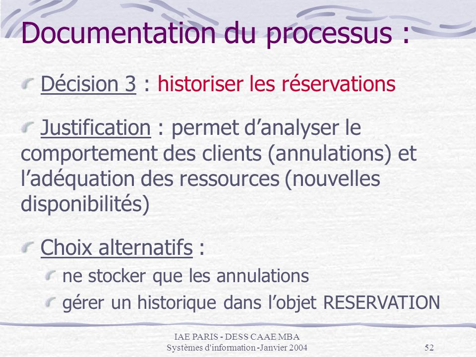Documentation du processus :