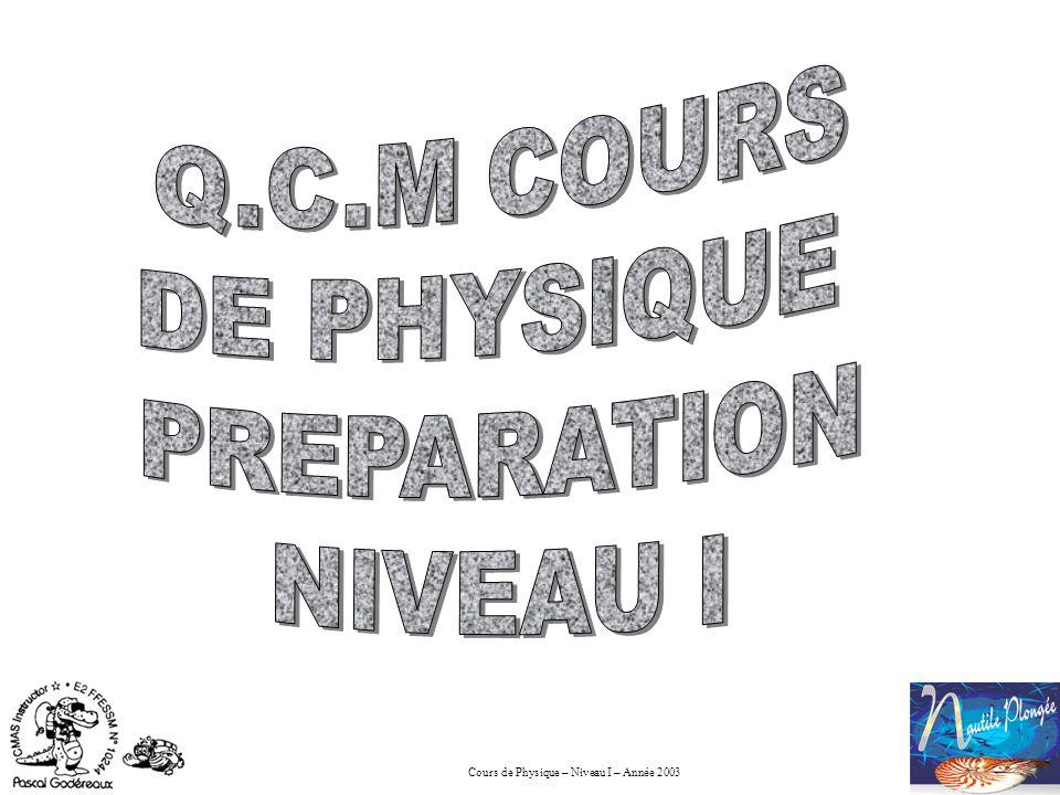 Q.C.M COURS DE PHYSIQUE PREPARATION NIVEAU I