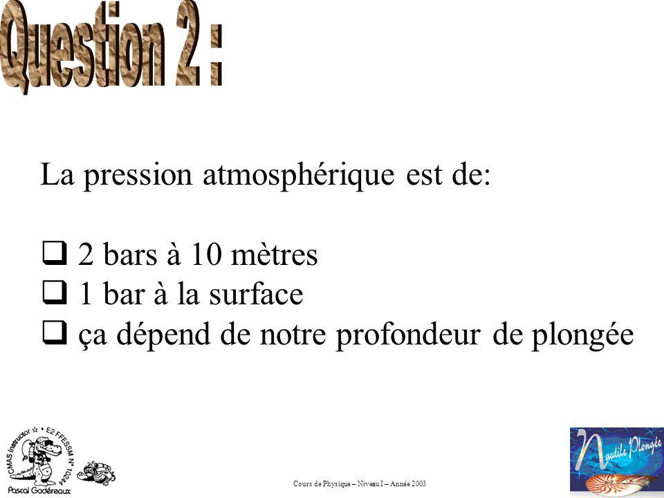 Question 2 : La pression atmosphérique est de: 2 bars à 10 mètres.