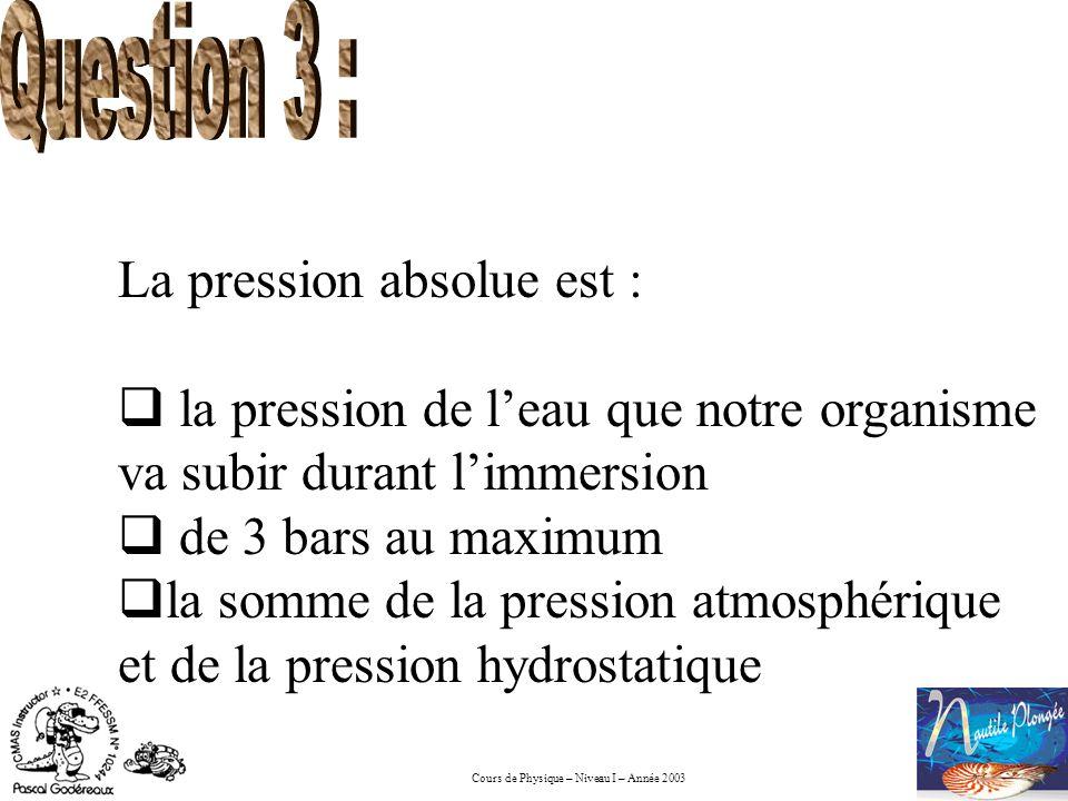 Question 3 : La pression absolue est : la pression de l'eau que notre organisme va subir durant l'immersion.