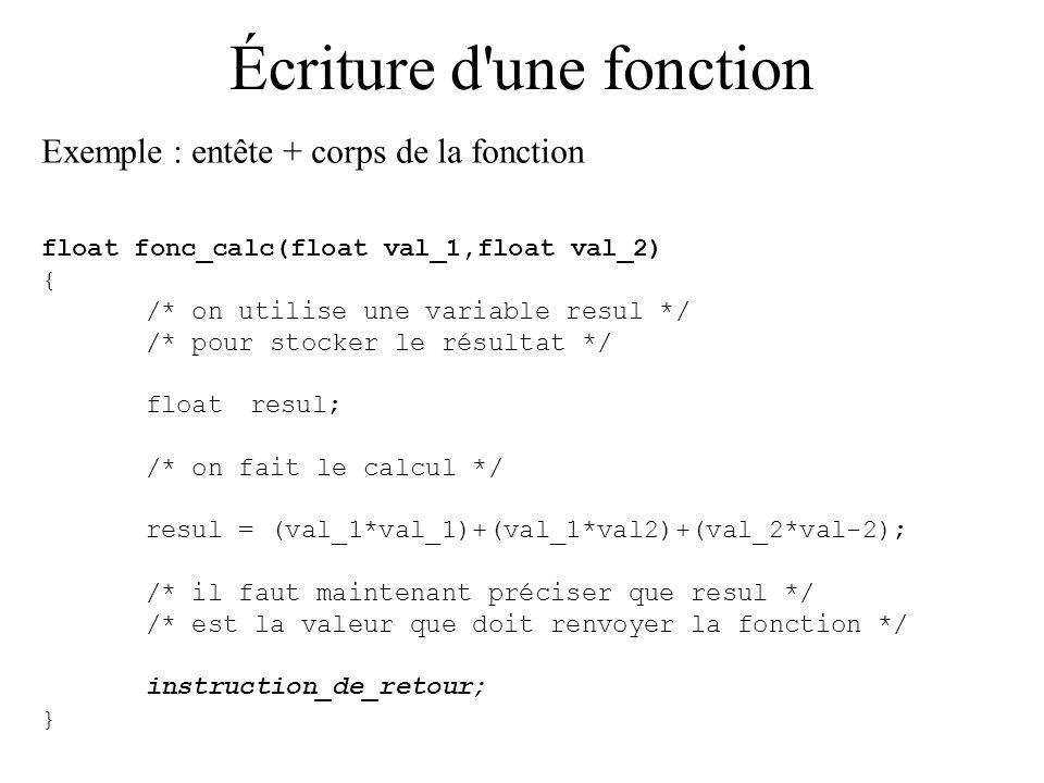 Écriture d une fonction