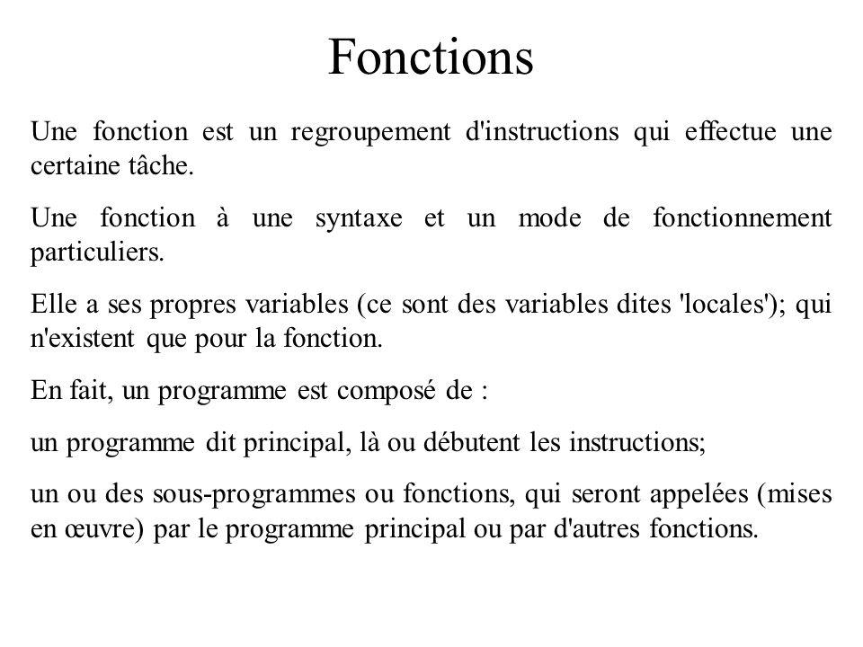 FonctionsUne fonction est un regroupement d instructions qui effectue une certaine tâche.