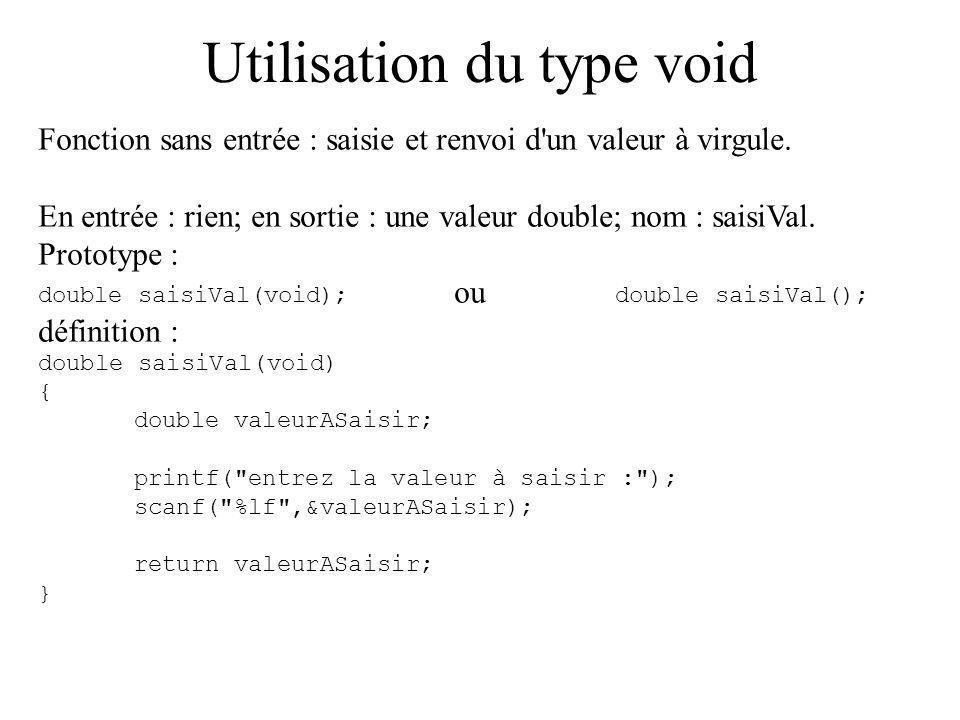 Utilisation du type void