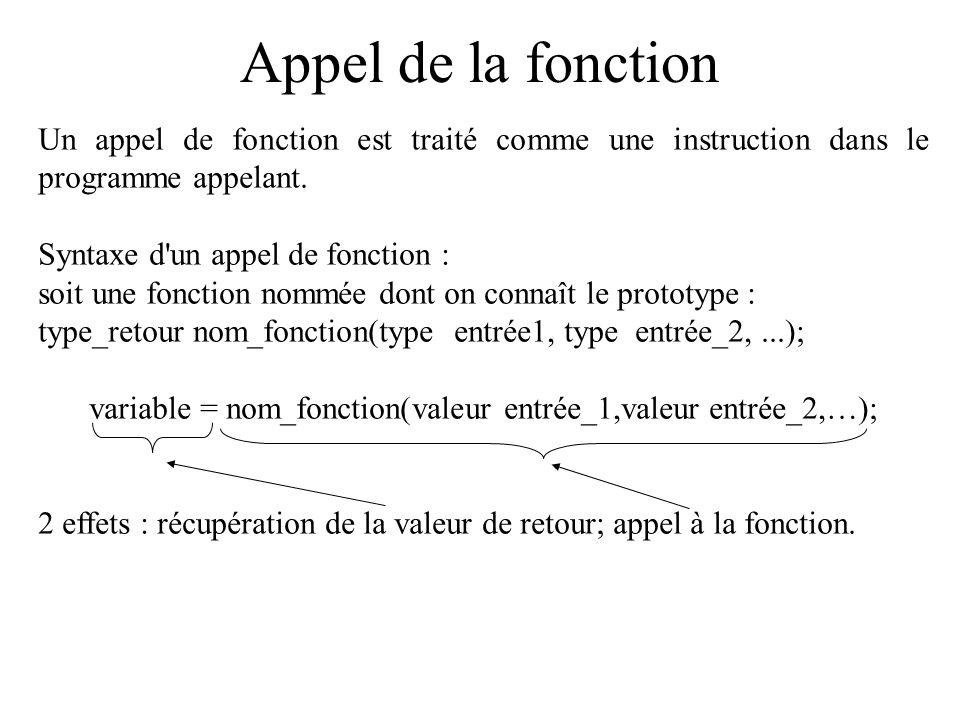 variable = nom_fonction(valeur entrée_1,valeur entrée_2,…);