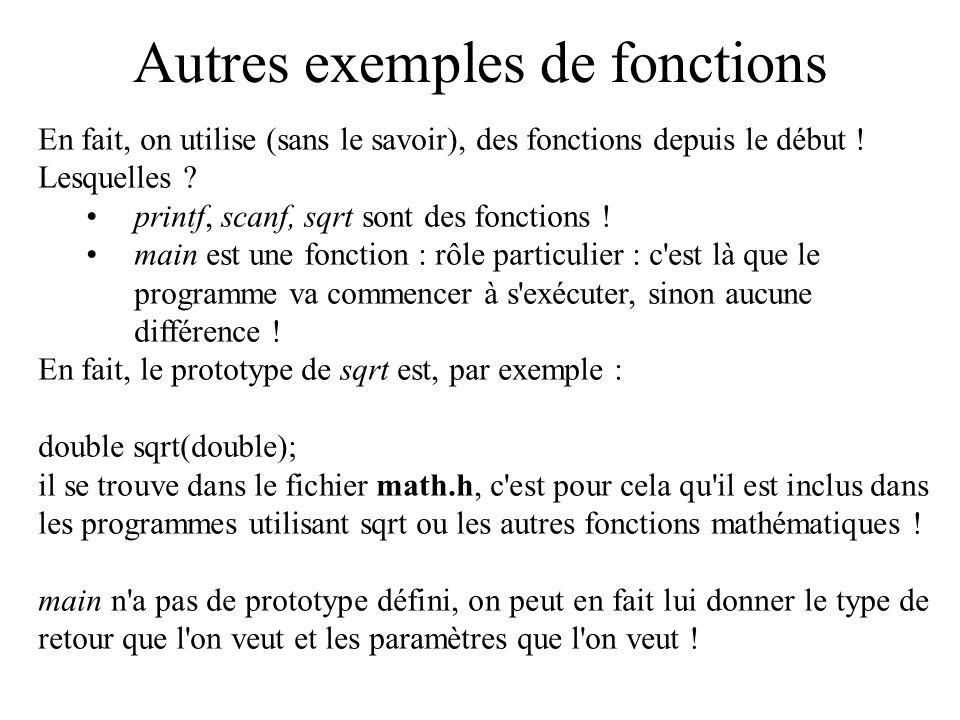 Autres exemples de fonctions