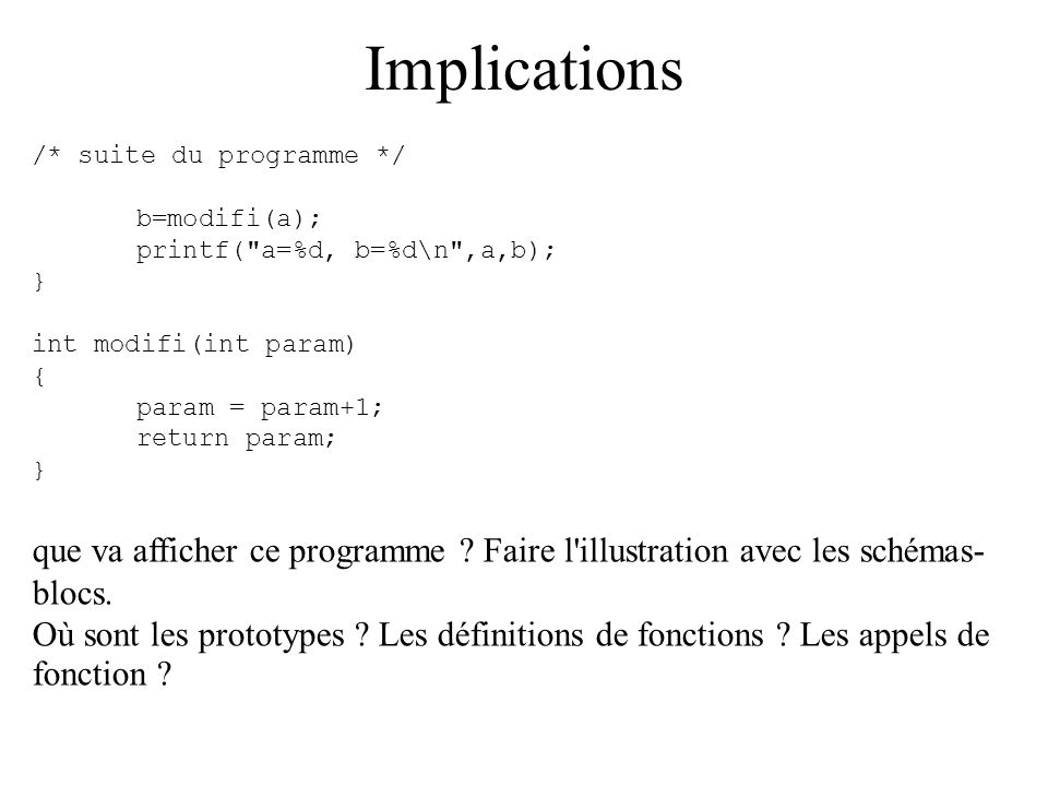 Implications /* suite du programme */ b=modifi(a); printf( a=%d, b=%d\n ,a,b); } int modifi(int param)