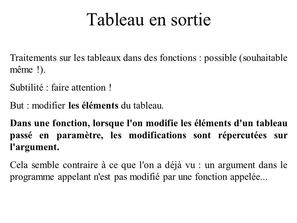 Tableau en sortie Traitements sur les tableaux dans des fonctions : possible (souhaitable même !). Subtilité : faire attention !