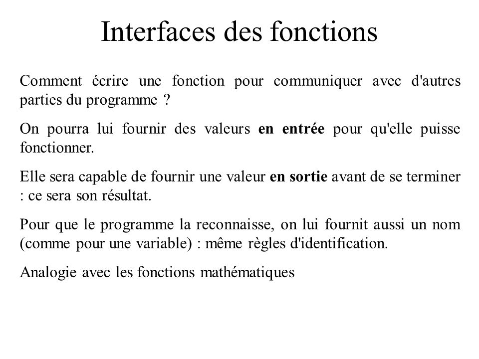 Interfaces des fonctions