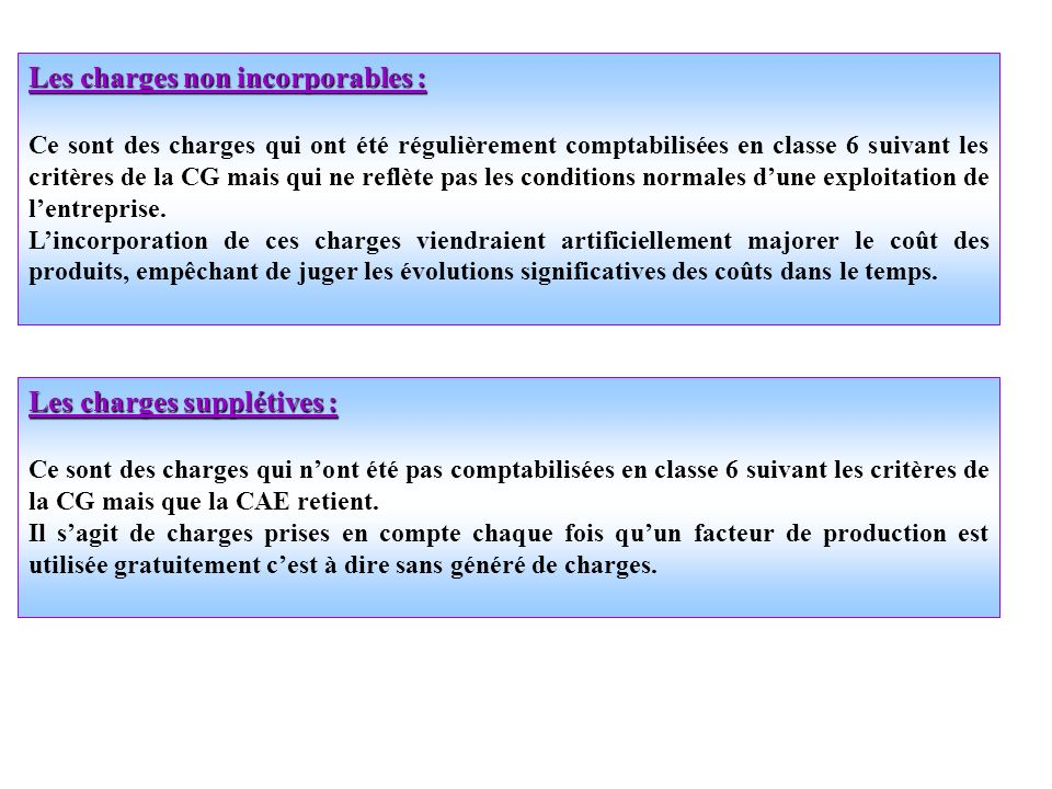 Les charges non incorporables :