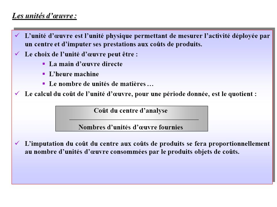 Comptabilit analytique ppt video online t l charger for Cout main d oeuvre batiment