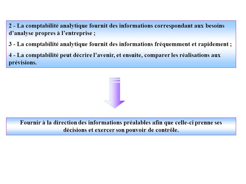 2 - La comptabilité analytique fournit des informations correspondant aux besoins d'analyse propres à l'entreprise ;