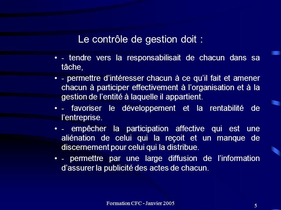 Le contrôle de gestion doit :