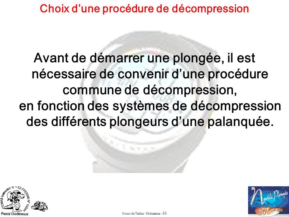 Choix d'une procédure de décompression