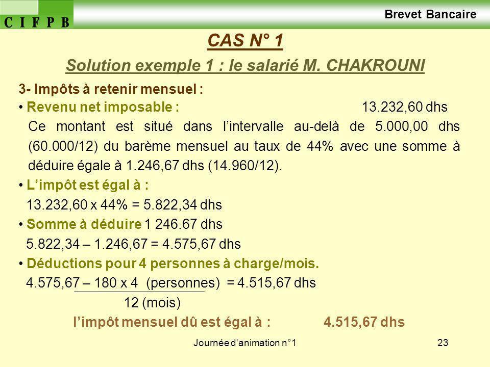 CAS N° 1 Brevet Bancaire Solution exemple 1 : le salarié M. CHAKROUNI