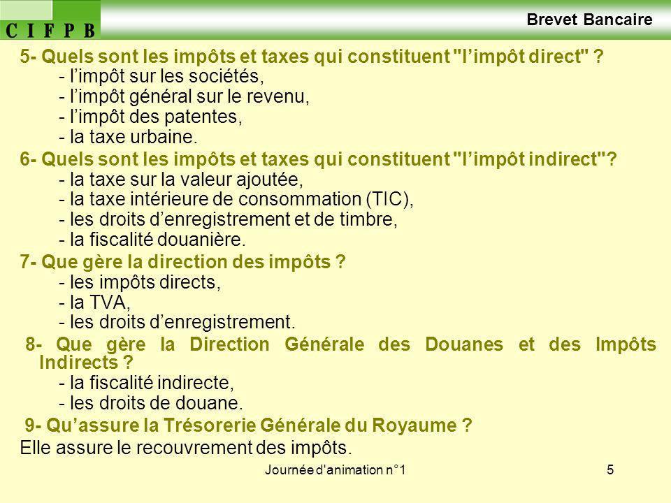 Brevet Bancaire 5- Quels sont les impôts et taxes qui constituent l'impôt direct - l'impôt sur les sociétés,