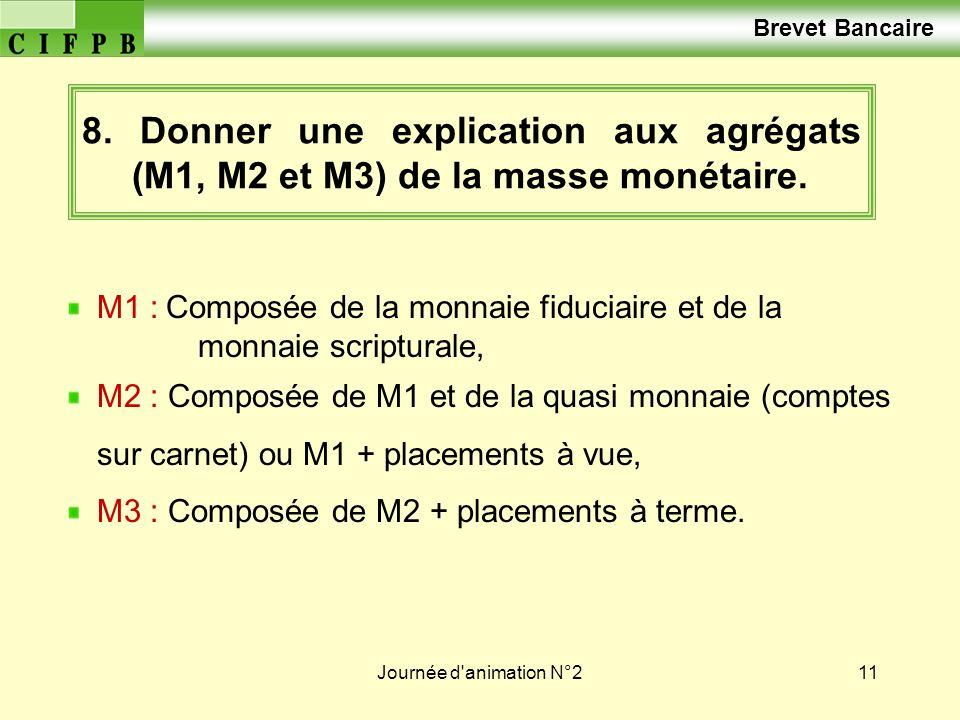 Brevet Bancaire 8. Donner une explication aux agrégats (M1, M2 et M3) de la masse monétaire.