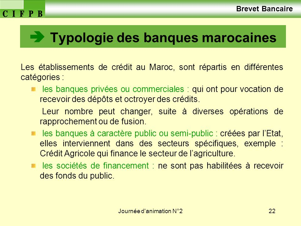  Typologie des banques marocaines