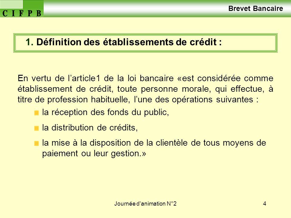 1. Définition des établissements de crédit :