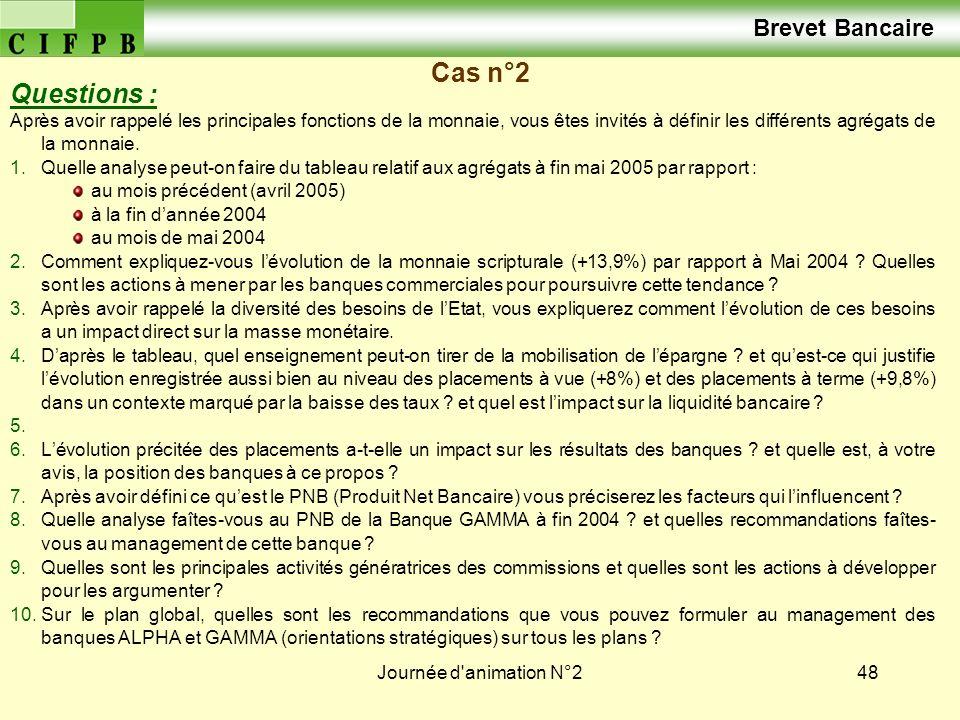 Brevet Bancaire Cas n°2 Questions :