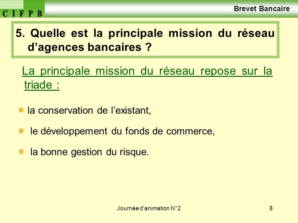 5. Quelle est la principale mission du réseau d'agences bancaires
