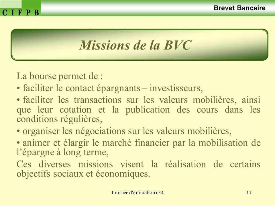Missions de la BVC La bourse permet de :