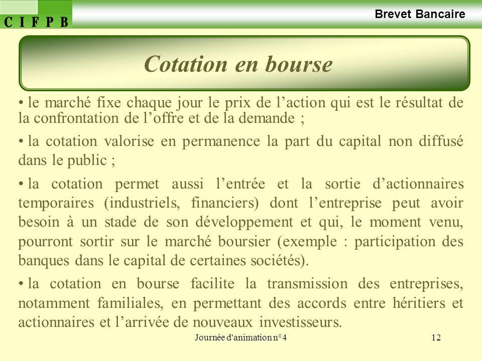 Cotation en bourse Brevet Bancaire