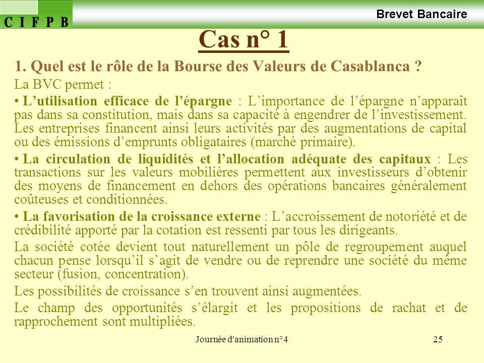 Brevet Bancaire Cas n° 1. 1. Quel est le rôle de la Bourse des Valeurs de Casablanca La BVC permet :