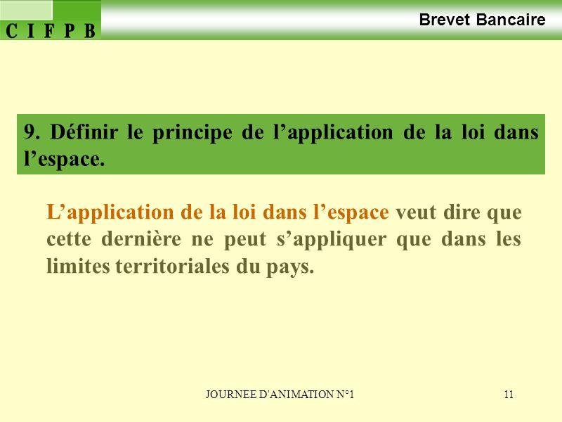 9. Définir le principe de l'application de la loi dans l'espace.