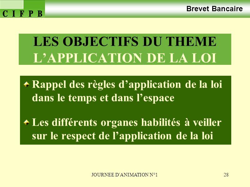 LES OBJECTIFS DU THEME L'APPLICATION DE LA LOI