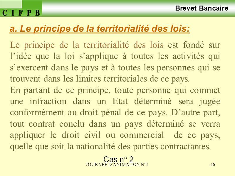 a. Le principe de la territorialité des lois:
