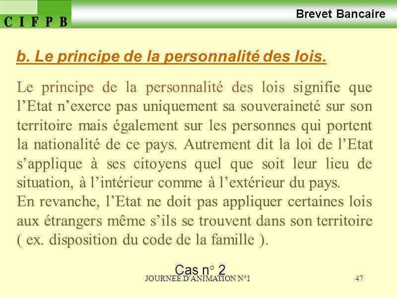 b. Le principe de la personnalité des lois.
