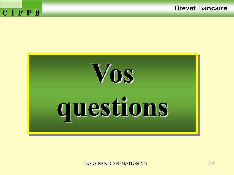Brevet Bancaire Vos questions JOURNEE D ANIMATION N°1
