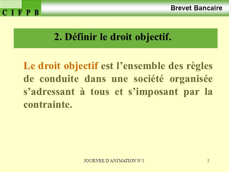 2. Définir le droit objectif.