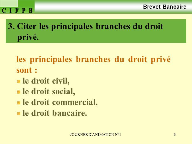 3. Citer les principales branches du droit privé.