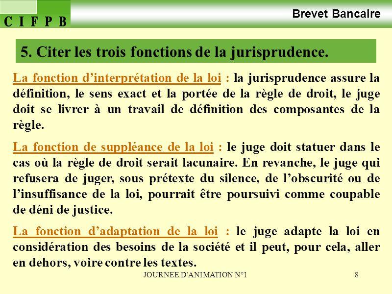 5. Citer les trois fonctions de la jurisprudence.