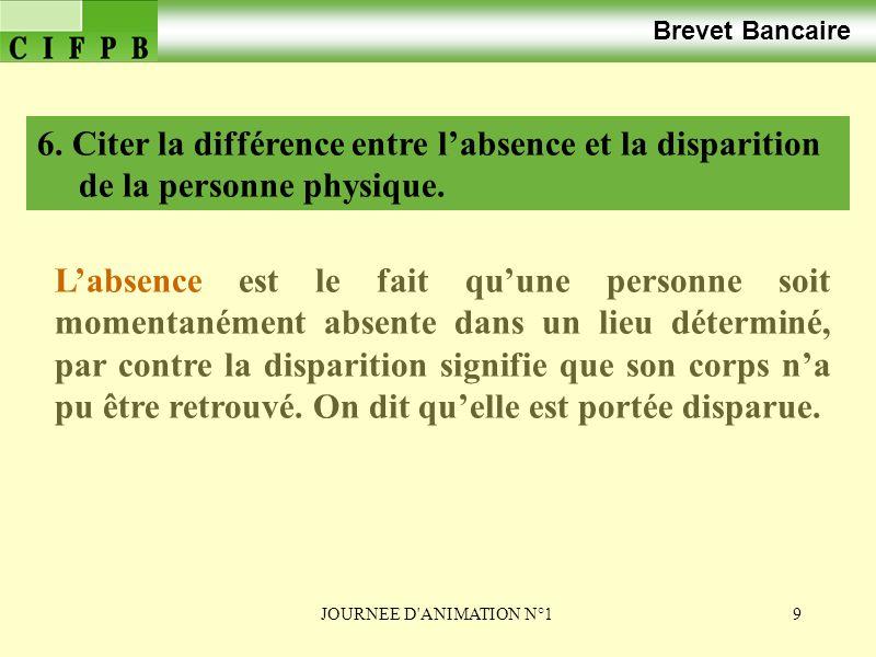 Brevet Bancaire 6. Citer la différence entre l'absence et la disparition de la personne physique.