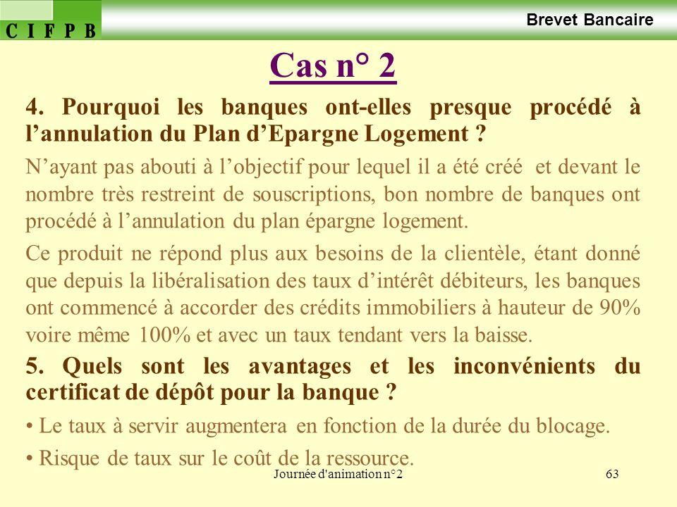 Brevet Bancaire Cas n° 2. 4. Pourquoi les banques ont-elles presque procédé à l'annulation du Plan d'Epargne Logement