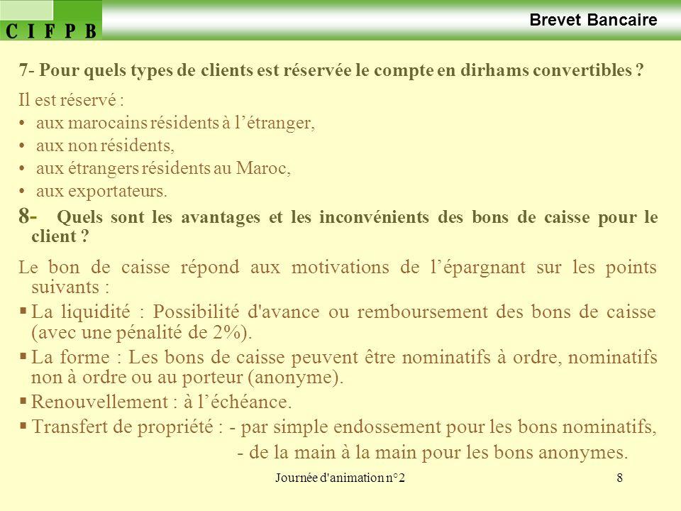 Brevet Bancaire 7- Pour quels types de clients est réservée le compte en dirhams convertibles Il est réservé :