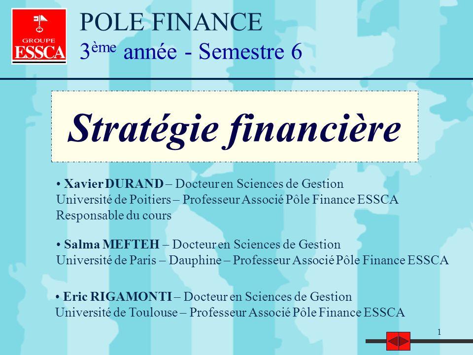 Stratégie financière POLE FINANCE 3ème année - Semestre 6