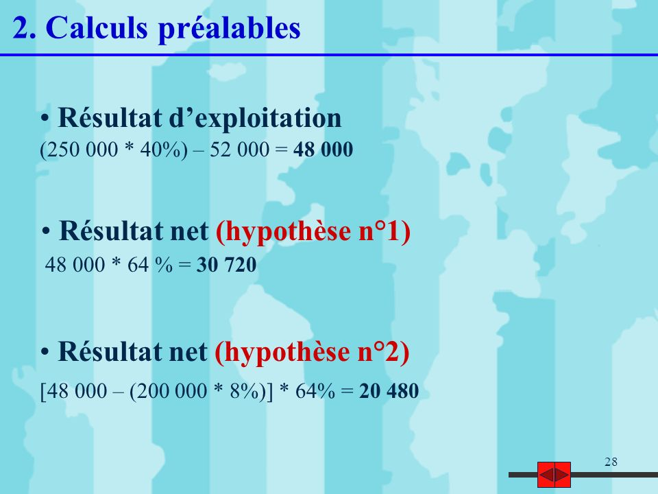 2. Calculs préalables Résultat d'exploitation