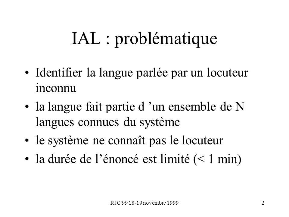 IAL : problématique Identifier la langue parlée par un locuteur inconnu. la langue fait partie d 'un ensemble de N langues connues du système.