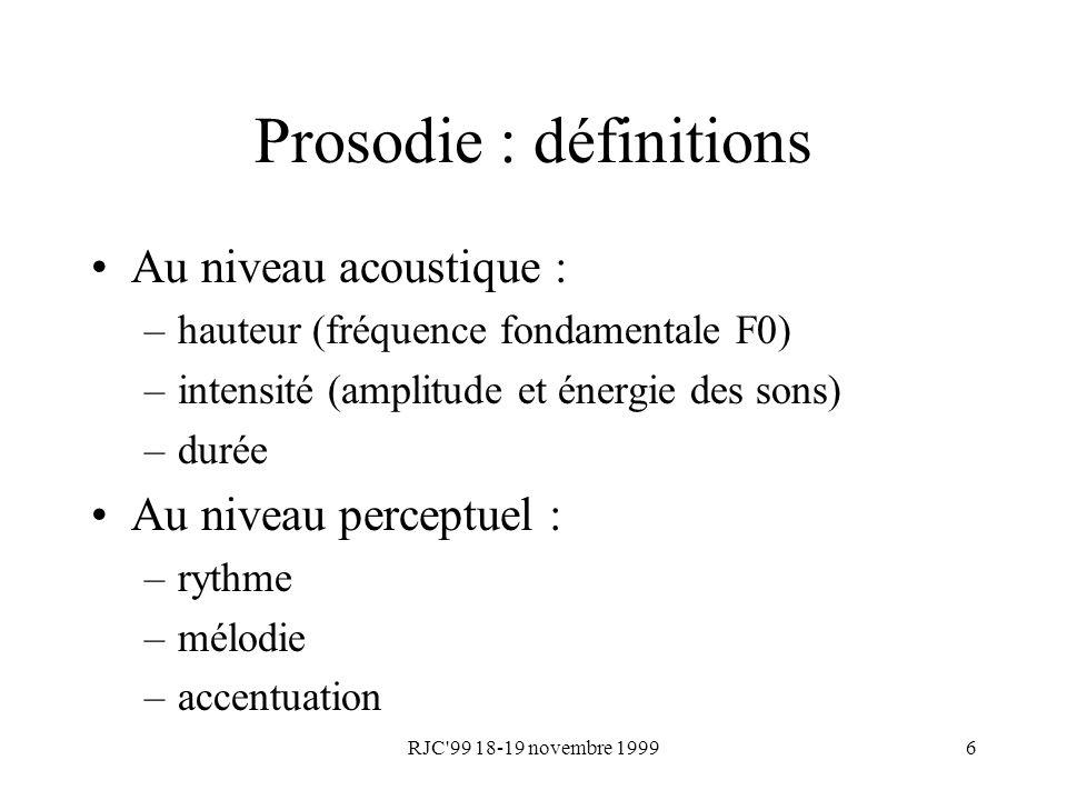 Prosodie : définitions