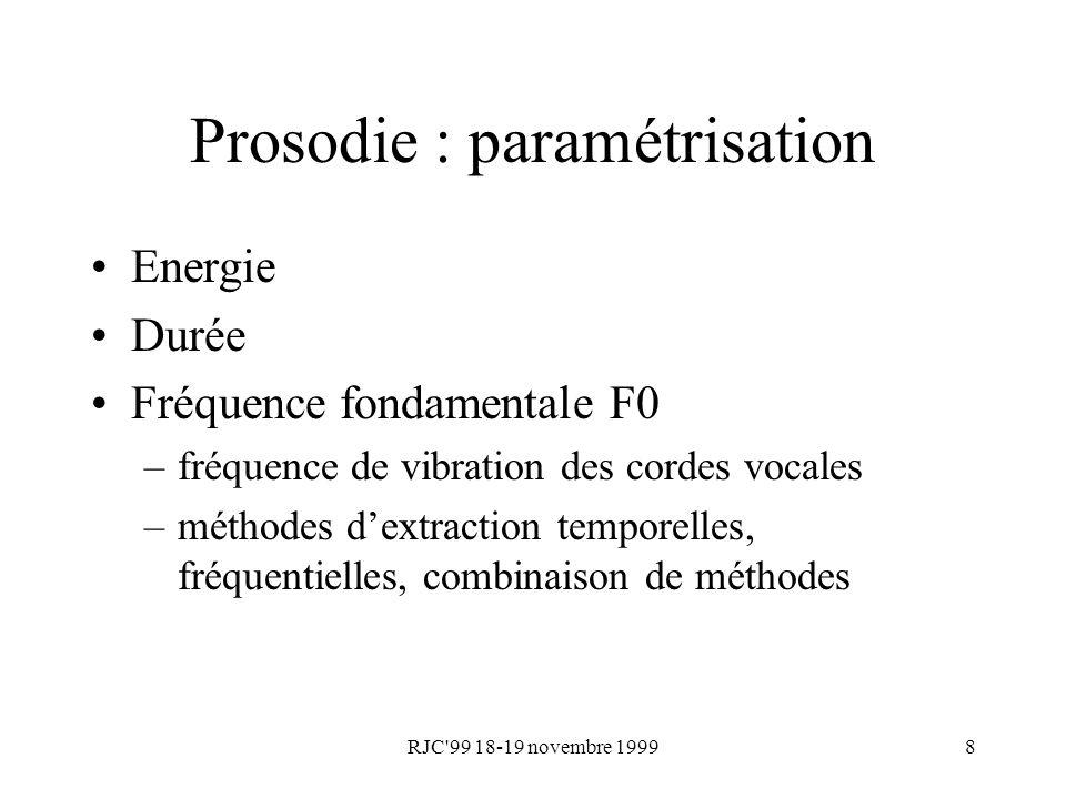 Prosodie : paramétrisation