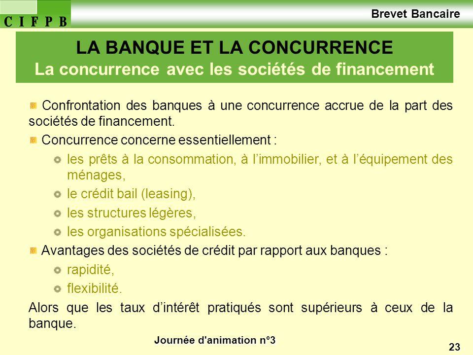 Brevet Bancaire LA BANQUE ET LA CONCURRENCE La concurrence avec les sociétés de financement.