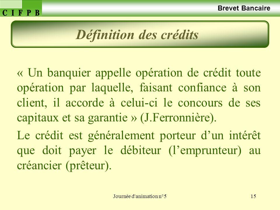 Définition des crédits