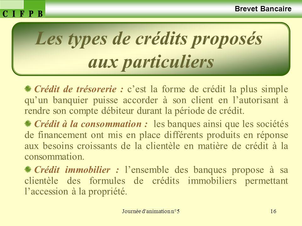 Les types de crédits proposés