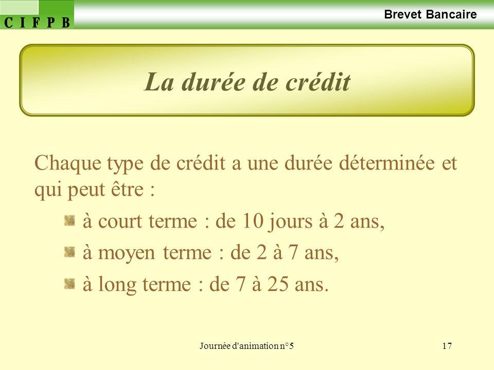 Brevet Bancaire La durée de crédit. Chaque type de crédit a une durée déterminée et qui peut être :