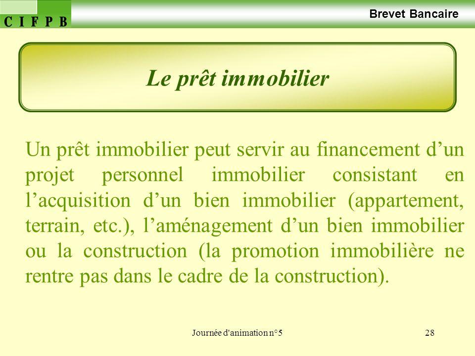 Brevet Bancaire Le prêt immobilier.