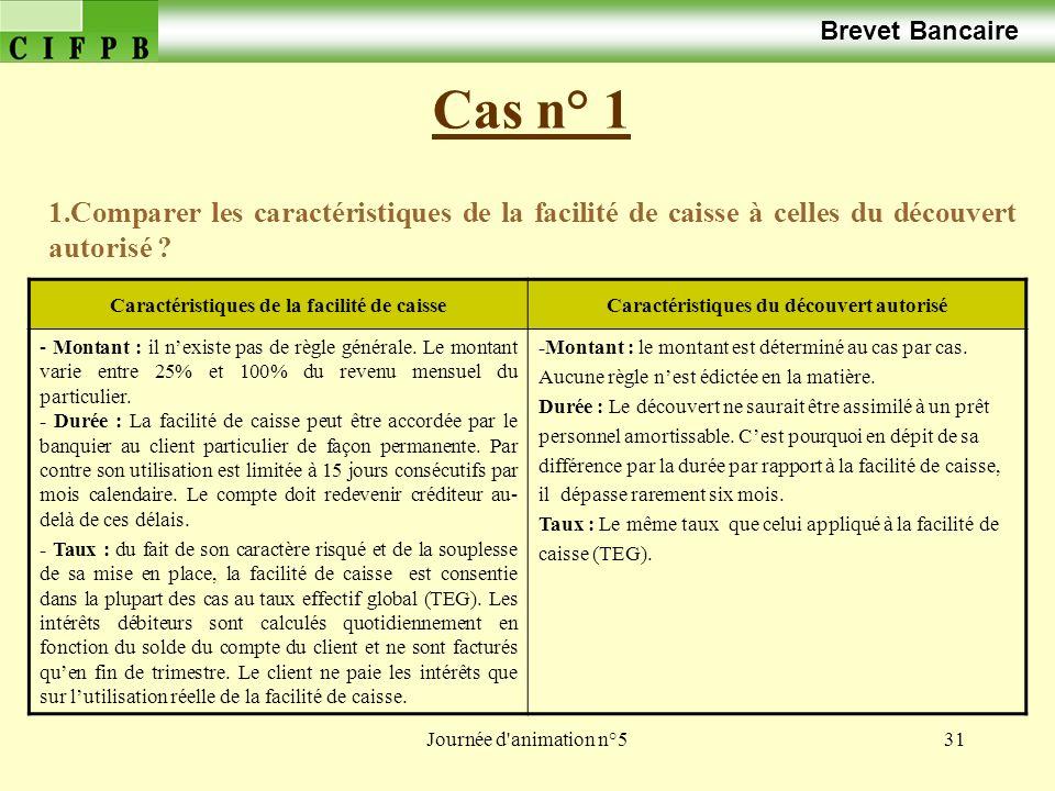 Brevet Bancaire Cas n° 1. 1.Comparer les caractéristiques de la facilité de caisse à celles du découvert autorisé