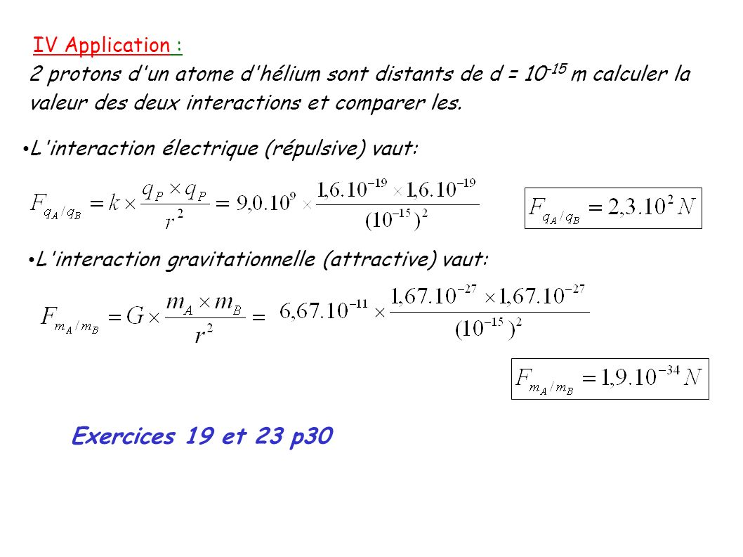 Exercices 19 et 23 p30 IV Application :